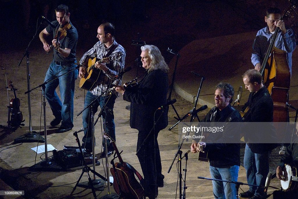 Andy Leftwich, Paul Brewster, Ricky Skaggs, Cody Kilby, Mark Fain and Eddie Faris perform during Bluegrass Underground at the Cumberland Caverns on May 22, 2010 in McMinnville, Tennessee.