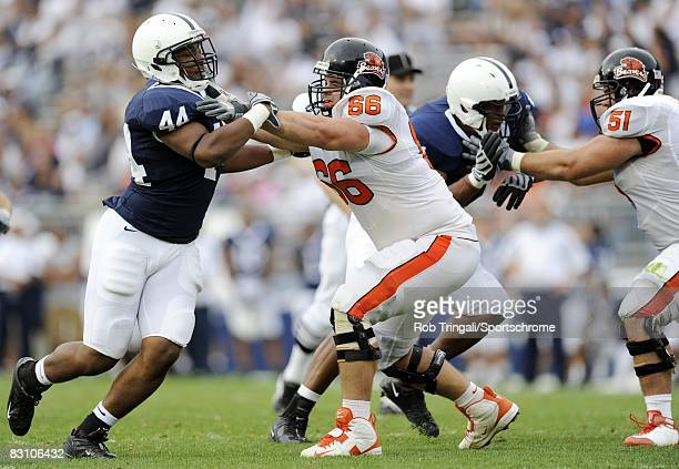 Andy Levitre of the Oregon State Beavers blocks Kevion Latham of the Penn State Nittany Lions during the game at Beaver Stadium on September 6 2008...
