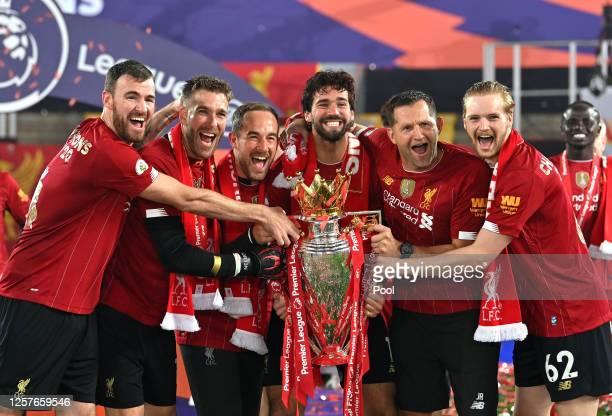 Andy Lonergan, Adrian, Jack Robinson, Assistant Goalkeeping Coach, Alisson Becker, John Achterberg, Goalkeeping Coach and Caoimhin Kelleher of...