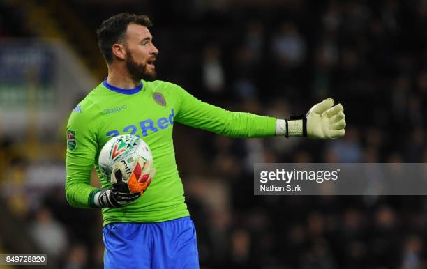 Andy Lonergan of Leeds gives his team mates instructions during the Carabao Cup Third Round match between Burnley and Leeds United at Turf Moor on...