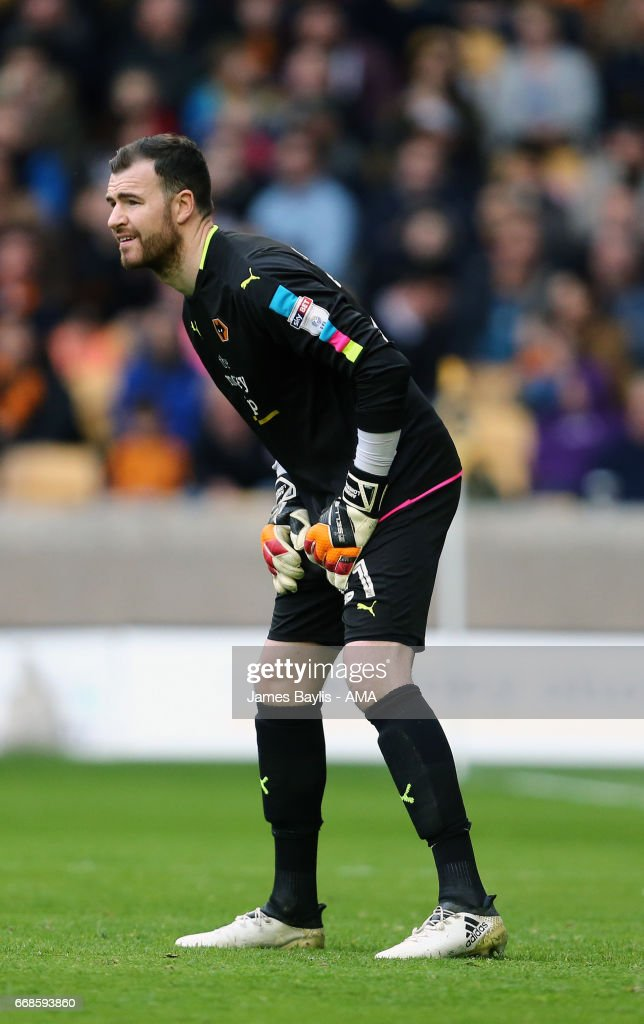 Andy Lonergan of Wolverhampton Wanderers during the Sky Bet Championship match between Wolverhampton Wanderers and Brighton & Hove Albion at Molineux on April 15, 2017 in Wolverhampton, England.