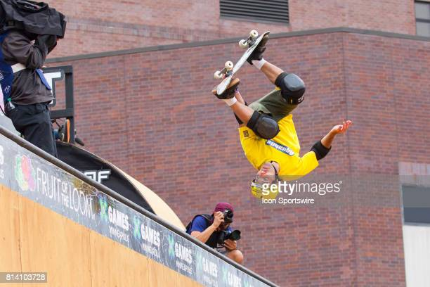 Andy Macdonald flips during the Skateboard Vert Final at X Games on July 13 2017 at US Bank Stadium in Minneapolis Minnesota