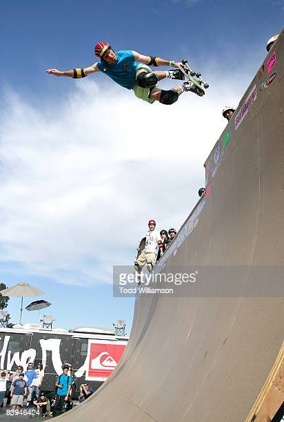Andy MacDonald skates at the Quiksilver Tony Hawk All 80s All Day Vert Challenge at Quiksilver on December 6 2008 in Huntington Beach California