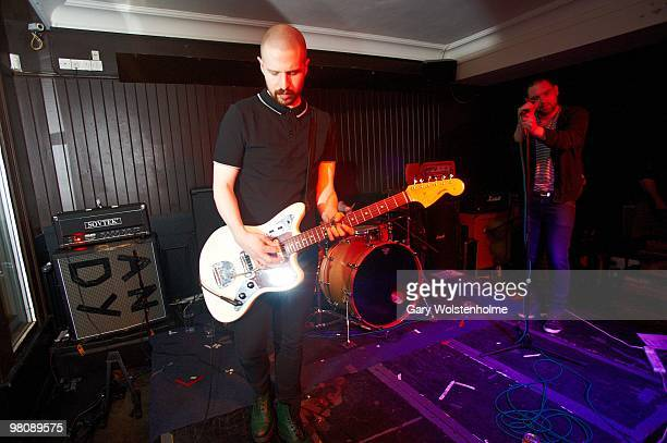 Andy MacFarlane and James Graham of The Twilight Sad perform on stage at The Harley on March 27 2010 in Sheffield England