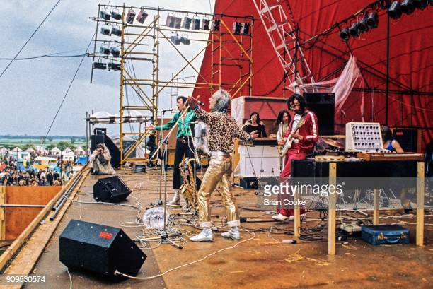 Andy Mackay Brian Eno Bryan Ferry Rik Kenton Phil Manzanera and Paul Thompson of Roxy Music performing at The Great Western Express Festival at...
