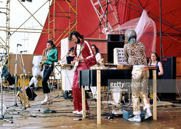 Andy Mackay Bryan Ferry Phil Manzanera Rik Kenton Brian Eno and Paul Thompson of Roxy Music performing at The Great Western Express Festival at...