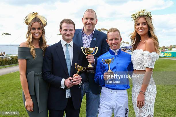 Andy Makiv from Godolphin assistant trainer James Ferguson and Kerrin McEvoy with Lucy and Ruby Brownless after Qewy won bet365 Geelong Cup at...