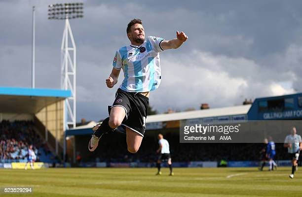 Andy Mangan of Shrewsbury Town celebrates after scoring to make it 1-2 during the Sky Bet League One match between Gillingham and Shrewsbury Town at...