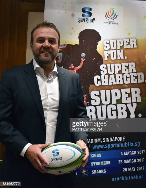 Andy Marinos, Chief Executive Officer of SANZAAR, poses after a group media interview in SIngapore on January 18, 2017. - Super Rugby's governing...