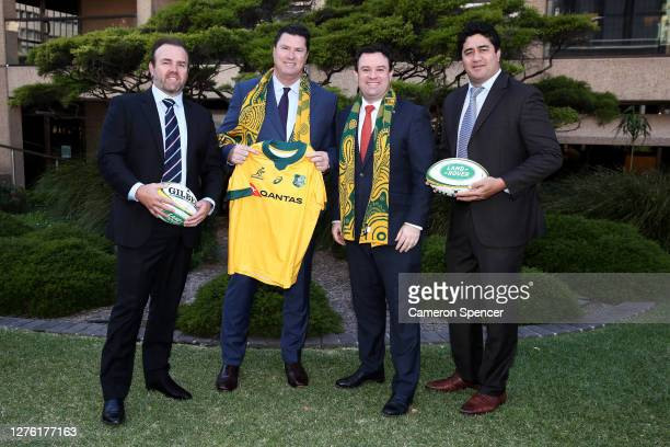 Andy Marinos, Rugby Australia Chairman Hamish McLennan, NSW Minister Stuart Ayres and Former Wallaby MorganTurinuipose during The Rugby...