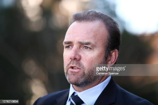 Andy Marinos speaks to the media during The Rugby Championship 2021 Fixture announcement at Parliament House on September 24, 2020 in Sydney,...