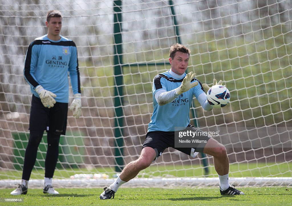 Andy Marshall of Aston Villa in action during a Aston Villa training session at the club's training ground at Bodymoor Heath on April 19, 2013 in Birmingham, England.
