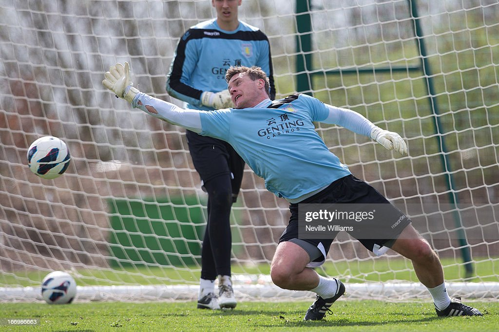 Andy Marshall of Aston Villa in action during a Aston Villa training session at the club's training ground, Bodymoor Heath on April 19, 2013 in Birmingham, England.