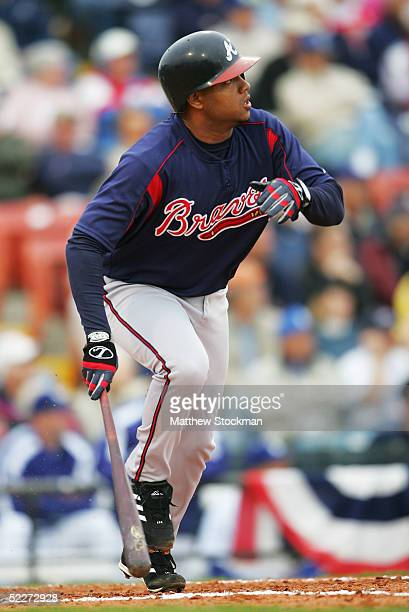 Andy Marte of the Atlanta Braves hits a RBI double in the third inning during a spring training game against the Los Angeles Dodgers on March 3 2005...