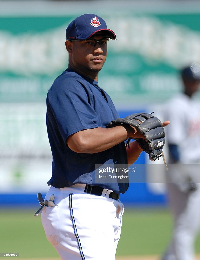 Andy Marte of the Cleveland Indians looks on during the game against the Detroit Tigers at Chain O' Lakes Park in Winter Haven, Florida on March 4, 2007. The Tigers defeated the Indians 7-4.