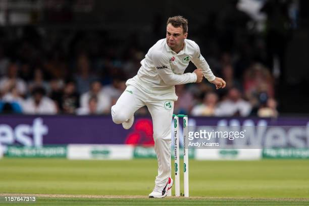 Andy McBrine of Ireland in delivery stride during day two of the Specsavers 1st Test match between England and Ireland at Lord's Cricket Ground on...