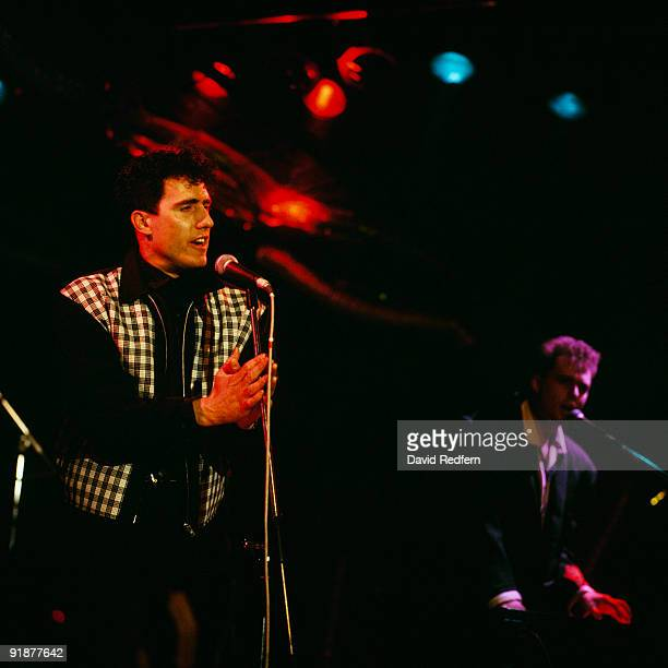 Andy McCluskey and Paul Humphreys of OMD perform on stage circa 1987