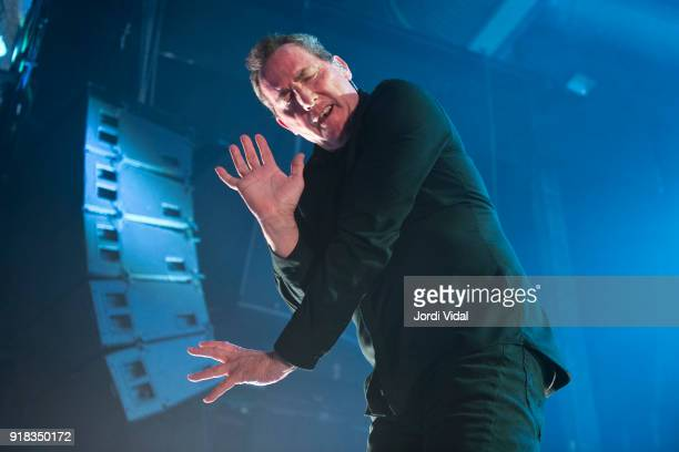Andy McCluskey of Orchestral Manoeuvres in the Dark performs on stage at Razzmatazz on February 14 2018 in Barcelona Spain