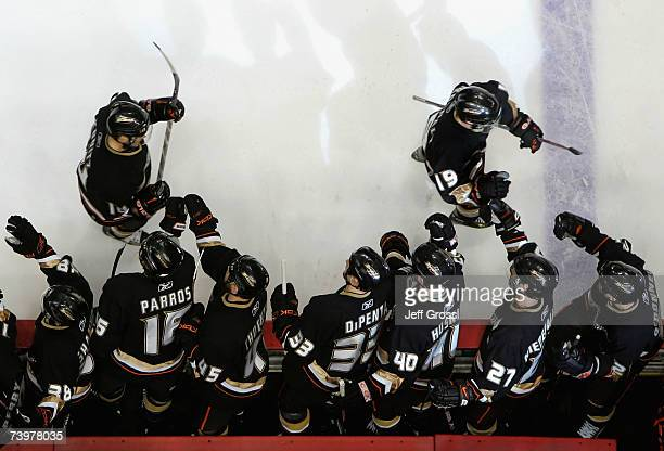 Andy McDonald of the Anaheim Ducks celebrates with teammates after scoring against the Vancouver Canucks during game one of the 2007 Western...