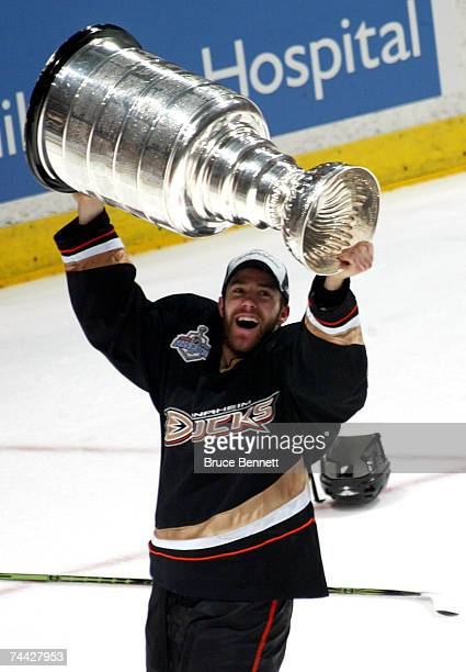 Andy McDonald of the Anaheim Ducks hoists the Stanley Cup after his team's victory over the Ottawa Senators 62 during Game Five of the n June 6 2007...
