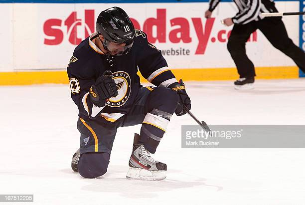 Andy McDonald of the St Louis Blues celebrates a goal in an NHL game against the Calgary Flames on April 25 2013 at Scottrade Center in St Louis...