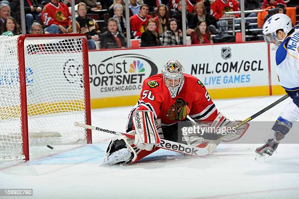 Andy McDonald of the St Louis Blues scores on goalie Corey Crawford of the Chicago Blackhawks in the third during the NHL game on January 22 2013 at...