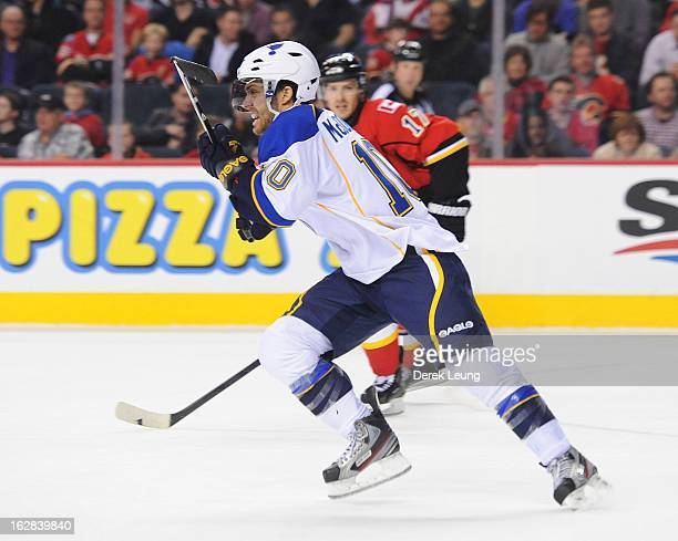 Andy McDonald of the St Louis Blues skates against the Calgary Flames during an NHL game at Scotiabank Saddledome on February 15 2013 in Calgary...
