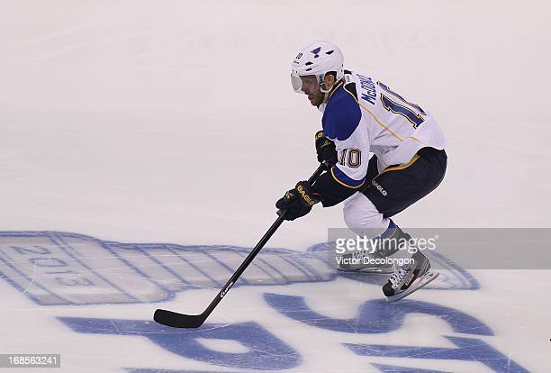 Andy McDonald of the St Louis Blues stickhandeles the puck out of the defensive zone during Game Six of the Western Conference Quarterfinals against...