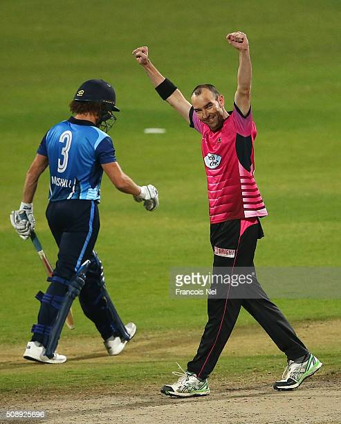 Andy McKay of Libra Legends celebrates the wicket of Hamish Marshall of Leo Lions during the Oxigen Masters Champions League match between the Libra...