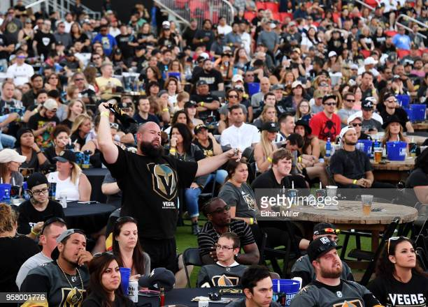 Andy Mensch of Nevada reacts late in the third period of Game One of the Western Conference Finals between the Vegas Golden Knights and the Winnipeg...