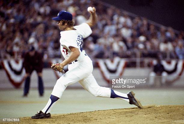 Andy Messersmith of the Los Angeles Dodgers and the National League AllStars pitches against the American League AllStars during Major League...