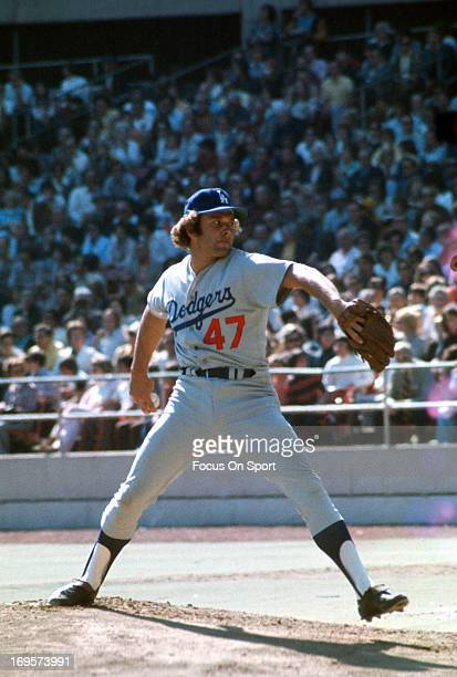 Andy Messersmith of the Los Angeles Dodgers pitches during an Major League Baseball game circa 1973 Messersmith played for the Dodgers from 197375...