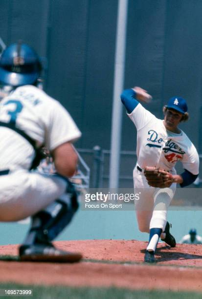 Andy Messersmith of the Los Angeles Dodgers pitches during an Major League Baseball spring training game circa 1973 in Vero Beach Florida Messersmith...