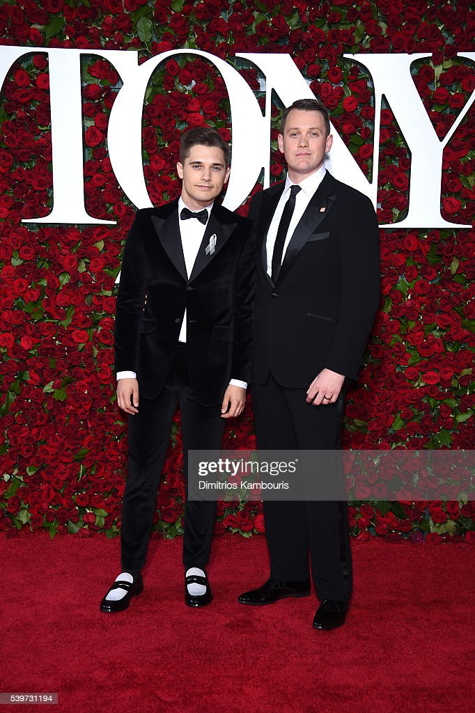 Andy Mientus (L) and director Michael Arden attend the 70th Annual Tony Awards at The Beacon Theatre on June 12, 2016 in New York City.
