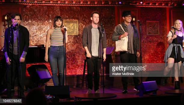Andy Mientus Krysta Rodriguez Nick Blaemire George Salazar and Lauren Marcus from the cast of 'The Jonathan Larson Project' during the press preview...