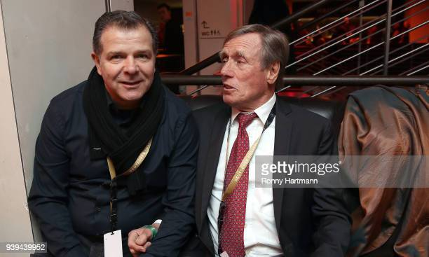 Andy Moeller and Siggi Held members of the Club of Former National Players attend the International friendly match between Germany and Brazil at...