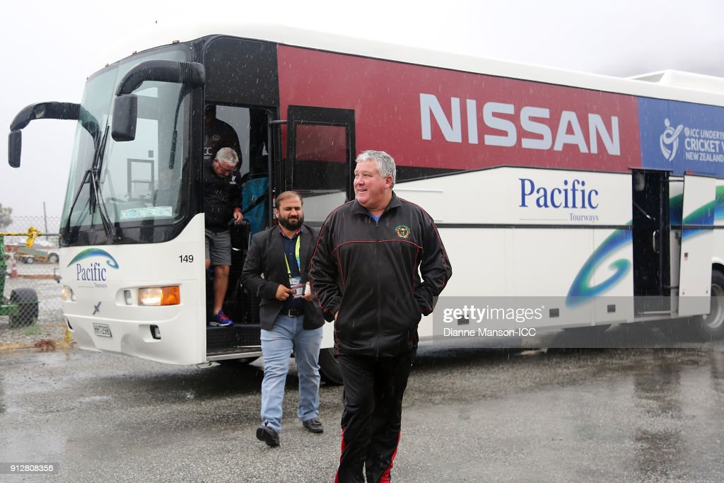Andy Moles, coach of Afghanistan, arrives for lunch after the match was abandoned due to wet weather during the ICC U19 Cricket World Cup match between Afghanistan and Pakistan at Joh Davies Oval on February 1, 2018 in Queenstown, New Zealand.