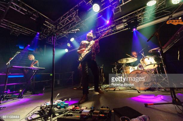 Andy Monaghan Scott Hutchison and Grant Hutchison of Frightened Rabbit perform on stage at The Liquid Room on March 12 2018 in Edinburgh Scotland