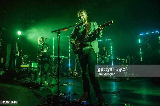 Andy Monaghan Scott Hutchison and Simon Liddell of Frightened Rabbit perform onstage at O2 Forum Kentish Town on March 16 2018 in London England