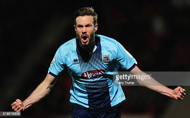 Andy Monkhouse of Grimsby Town celebrates his sides first goal during the Vanarama Football Conference match between Cheltenham Town and Grimsby Town...