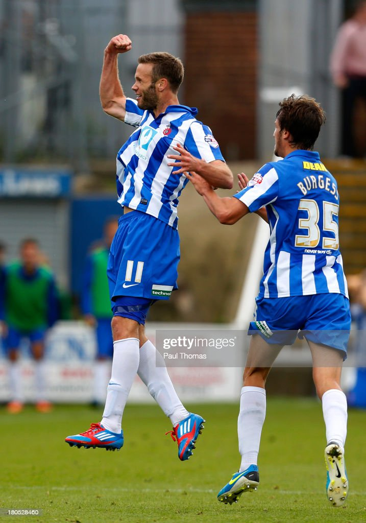 Andy Monkhouse (L) of Hartlepool celebrates his goal with team mate Christian Burgess during the Sky Bet League Two match between Hartlepool United and Accrington Stanley at Victoria Park on September 14, 2013 in Hartlepool, England.