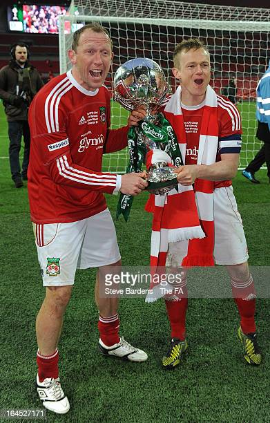 Andy Morrell and Dean Keates of Wrexham celebrate their victory with FA Trophy after the FA Trophy Final between Wrexham and Grimsby Town at Wembley...
