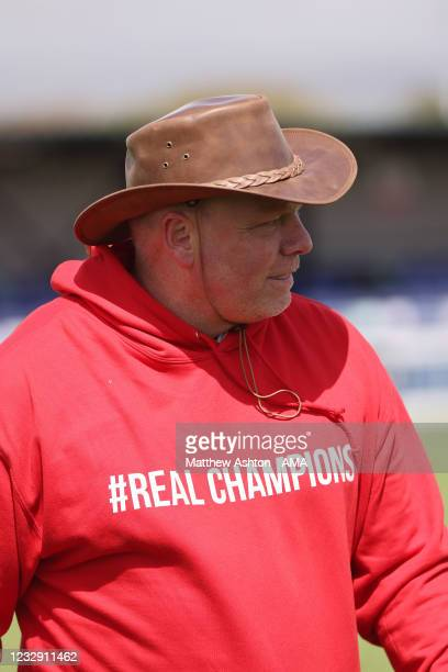 Andy Morrison the head coach / manager of Connah's Quay Nomads wears a red hoodie with Real Champions after his team won the Cymru Welsh Premier...