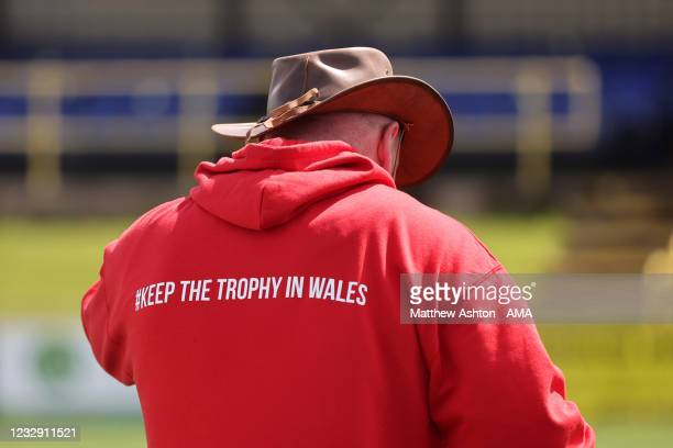 Andy Morrison the head coach / manager of Connah's Quay Nomads wears a red hoodie with Keep The Trophy In Wales after his team won the Cymru Welsh...