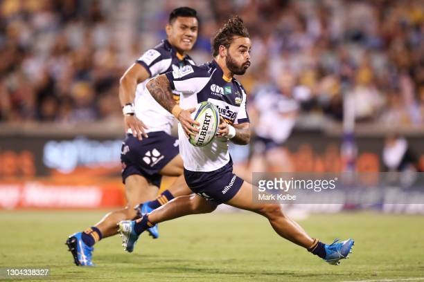 Andy Muirhead of the Brumbies makes a break during the round two Super RugbyAU match between the Brumbies and the Waratahs at GIO Stadium, on...