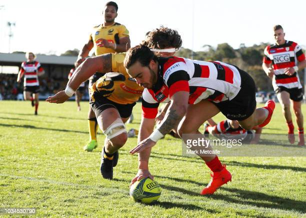 Andy Muirhead of the Vikings scores a try during the round three NRC match between Canberra Vikings and Western Force at Viking Park on September 16...