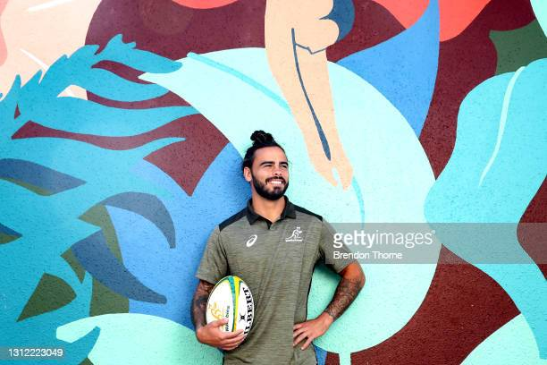 Andy Muirhead of the Wallabies poses for a portrait during an Australian Wallabies media opportunity at Crowne Plaza Coogee on April 13, 2021 in...