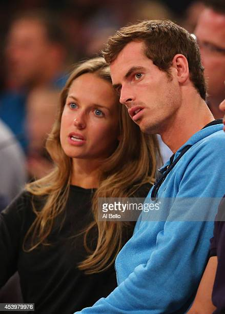 Andy Murray and girlfriend Kim Sears watch the USA against Puerto Rico game at Madison Square Garden on August 22 2014 in New York City