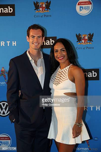 Andy Murray and Heather Watson arrive at the 2016 Hopman Cup Player Party at Perth Crown on January 2 2016 in Perth Australia