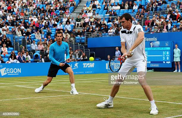 Andy Murray and his brother Jamie Murray play in a 'Rally for Bally' charity event on day seven of the Aegon Championships at Queens Club on June 15,...